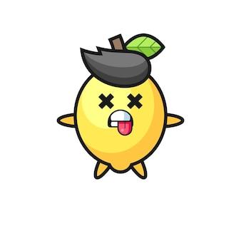 Personagem do limão fofo com pose de morto, design de estilo fofo para camiseta, adesivo, elemento de logotipo