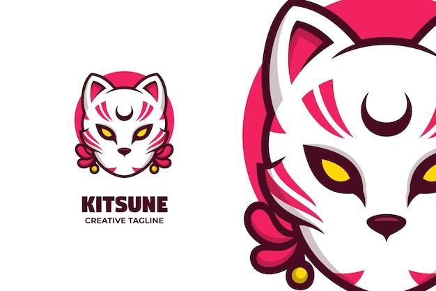 Personagem do logotipo da mascote da criatura da mitologia japonesa kitsune