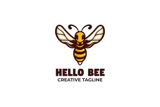 Personagem do logotipo da mascote do mel de abelha pequena