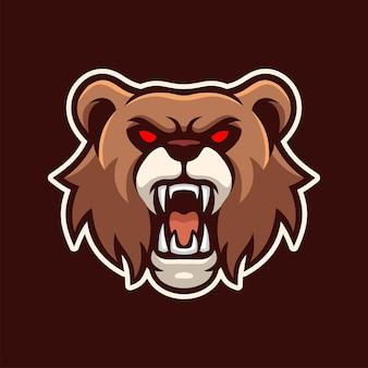 Personagem do logotipo do e-sports do mascote do urso-pardo irritado