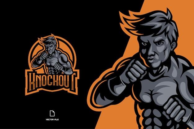 Personagem do logotipo do jogo mascote marcial para a equipe esport