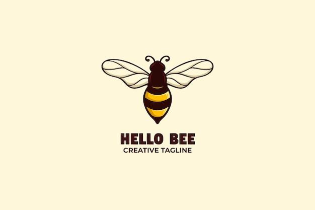 Personagem do logotipo do mascote bee honey farm