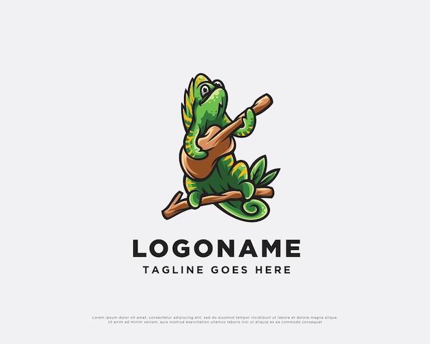 Personagem do logotipo do music chameleon design