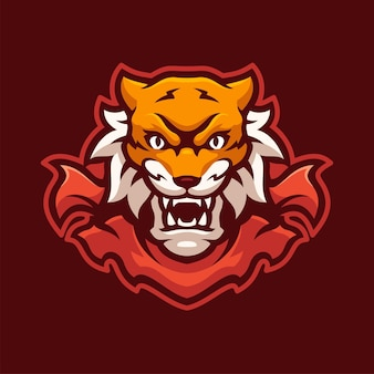 Personagem do logotipo do wild tiger mascot e-sports