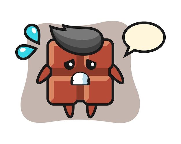 Personagem do mascote da barra de chocolate com gesto de medo, estilo kawaii fofo.