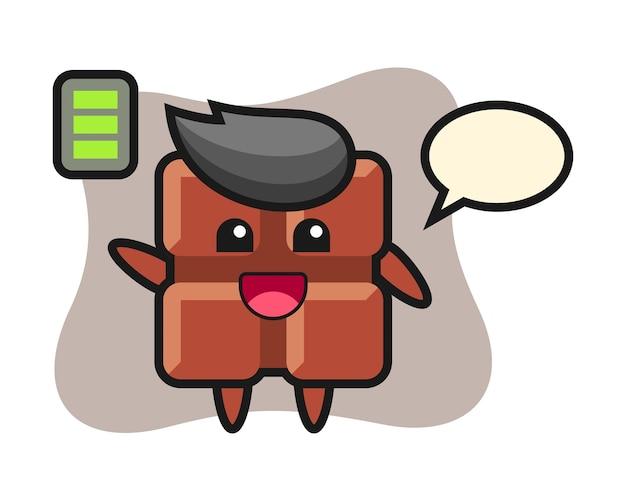 Personagem do mascote da barra de chocolate com gesto enérgico, estilo kawaii fofo.