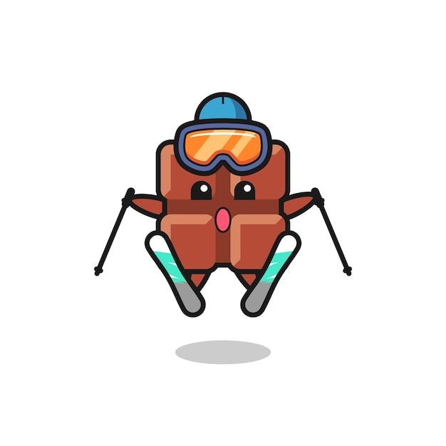 Personagem do mascote da barra de chocolate como jogador de esqui, design de estilo fofo para camiseta, adesivo, elemento de logotipo