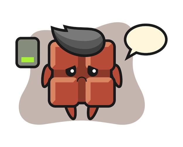 Personagem do mascote da barra de chocolate fazendo um gesto cansado, estilo kawaii bonito.