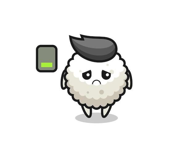 Personagem do mascote da bola de arroz fazendo um gesto cansado, design de estilo fofo para camiseta, adesivo, elemento de logotipo