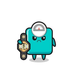 Personagem do mascote da escala de peso como um lutador de mma com o cinto de campeão, design de estilo fofo para camiseta, adesivo, elemento de logotipo