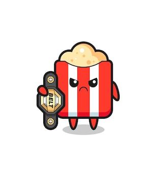 Personagem do mascote da pipoca como um lutador de mma com o cinto de campeão, design de estilo fofo para camiseta, adesivo, elemento de logotipo