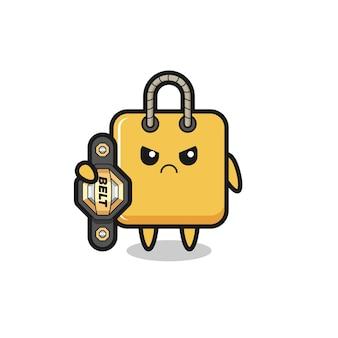 Personagem do mascote da sacola de compras como um lutador de mma com o cinto de campeão, design de estilo fofo para camiseta, adesivo, elemento de logotipo