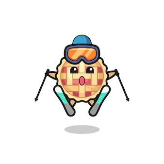 Personagem do mascote da torta de maçã como jogador de esqui, design de estilo fofo para camiseta, adesivo, elemento de logotipo