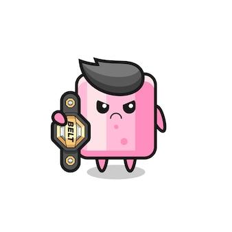 Personagem do mascote de marshmallow como um lutador de mma com o cinto de campeão, design de estilo fofo para camiseta, adesivo, elemento de logotipo