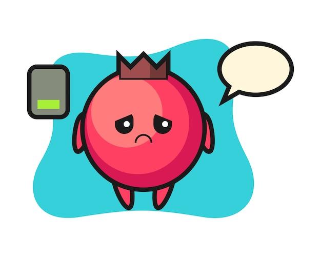 Personagem do mascote do cranberry fazendo um gesto cansado, estilo fofo, adesivo, elemento de logotipo