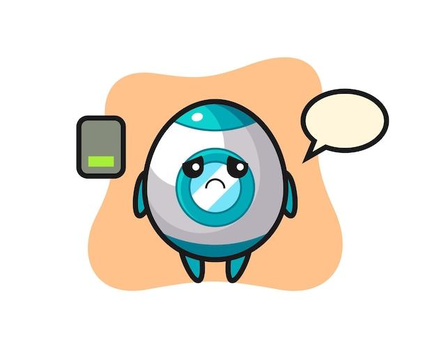 Personagem do mascote do foguete fazendo um gesto cansado, design de estilo fofo para camiseta, adesivo, elemento de logotipo