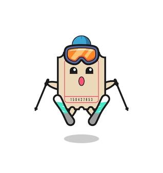Personagem do mascote do ingresso como jogador de esqui, design de estilo fofo para camiseta, adesivo, elemento de logotipo