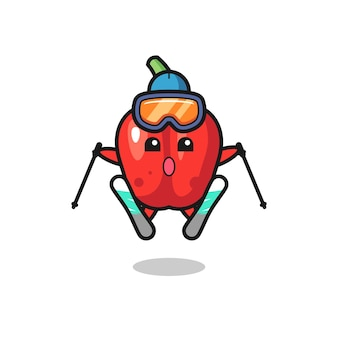 Personagem do mascote do pimentão vermelho como jogador de esqui, design de estilo fofo para camiseta, adesivo, elemento de logotipo