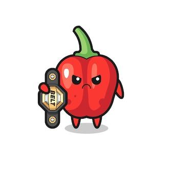 Personagem do mascote do pimentão vermelho como um lutador de mma com o cinto de campeão, design de estilo fofo para camiseta, adesivo, elemento de logotipo
