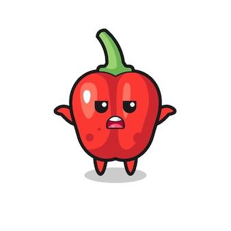 Personagem do mascote do pimentão vermelho dizendo não sei, design de estilo fofo para camiseta, adesivo, elemento de logotipo