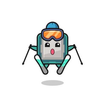 Personagem do mascote do processador como jogador de esqui, design de estilo fofo para camiseta, adesivo, elemento de logotipo