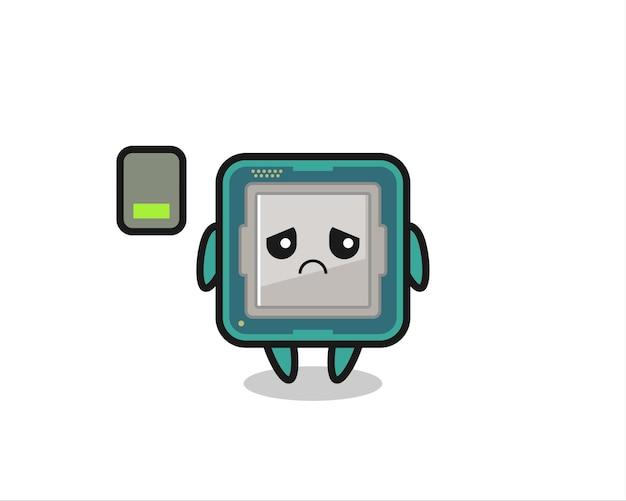 Personagem do mascote do processador fazendo um gesto cansado, design de estilo fofo para camiseta, adesivo, elemento de logotipo