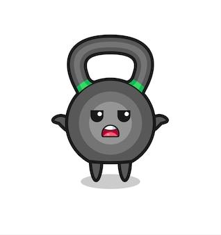 Personagem do mascote kettleball dizendo não sei, design de estilo fofo para camiseta, adesivo, elemento de logotipo