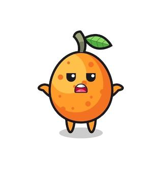 Personagem do mascote kumquat dizendo eu não sei, design de estilo fofo para camiseta, adesivo, elemento de logotipo