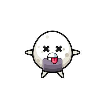 Personagem do onigiri fofo com pose de morto, design de estilo fofo para camiseta, adesivo, elemento de logotipo