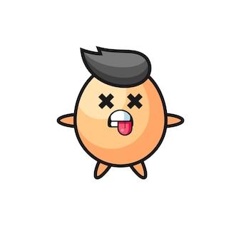 Personagem do ovo fofo com pose de morto, design de estilo fofo para camiseta, adesivo, elemento de logotipo