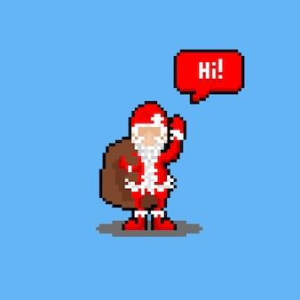 Personagem do papai noel em desenho animado de pixel art diz olá