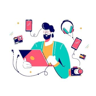 Personagem do photo designer com ilustração de vários gadgets