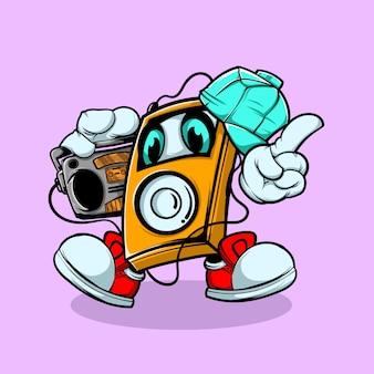 Personagem do player de música ouvir o rádio de música
