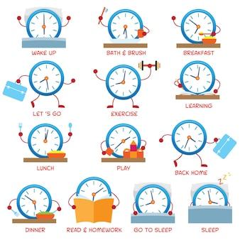 Personagem do relógio, rotina diária infantil, horário