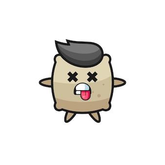 Personagem do saco fofo com pose de morto, design de estilo fofo para camiseta, adesivo, elemento de logotipo