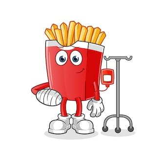 Personagem doente de batata frita