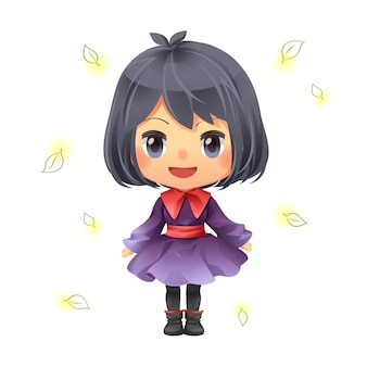 Personagem dos desenhos animados design linda menina