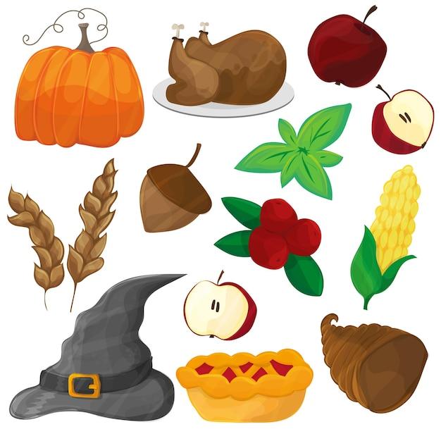 Personagem e objetos de desenho animado feliz de ação de graças e halloween - conjunto de ícones de vetor