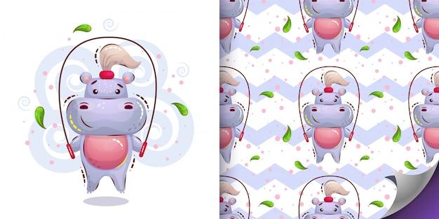 Personagem e padrão de hipopótamo linda garota