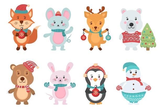 Personagem em banner de design plano com bonecos de neve de animais fofos de natal com blusas de chapéus de papai noel