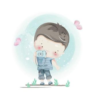 Personagem em estilo adorável menino.
