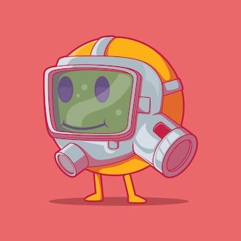 Personagem emoji com ilustração vetorial de máscara de gás conceito de design de risco biológico engraçado de comunicação