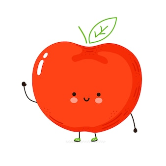 Personagem engraçada da apple. mão desenhada cartoon kawaii personagem ilustração. isolado em um fundo branco. conceito de personagem da apple