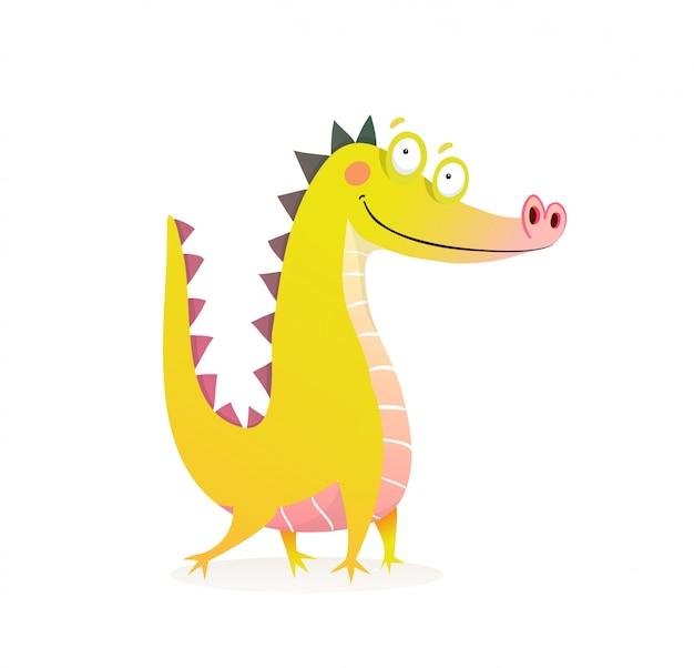 Personagem engraçada de dragão crocodilo ou jacaré