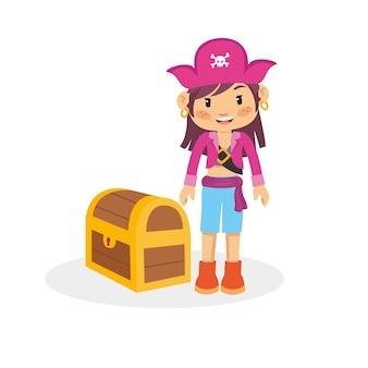 Personagem engraçada de pirata menina