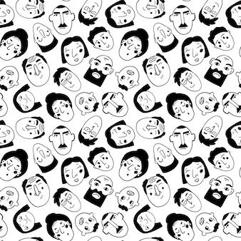 Personagem engraçada doodle pessoas. padrão sem emenda em preto e branco.