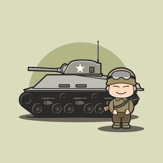 Personagem engraçada e fofa do tanque de veículo militar chibi com um soldado