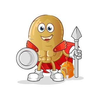 Personagem espartano de batata