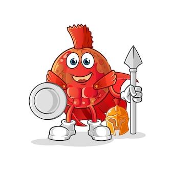 Personagem espartano de marte. mascote dos desenhos animados