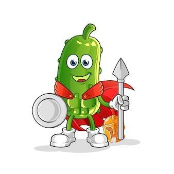 Personagem espartano de pepino. mascote dos desenhos animados
